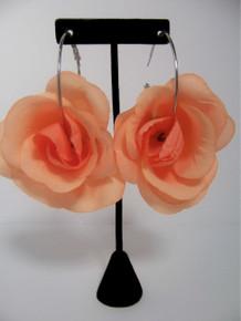 Peach Rose Hoop Earrings