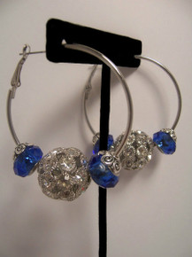 Sale! Silver Rhinestones/Blue Hoop Earrings