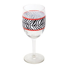 2-piece Zebra Print Wine Glasses, 10 oz.