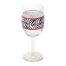 2-piece Zebra Print Wine Glasses, 10 oz.