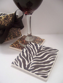 4- Piece Leopard/Zebra , Beverage Coaster Set