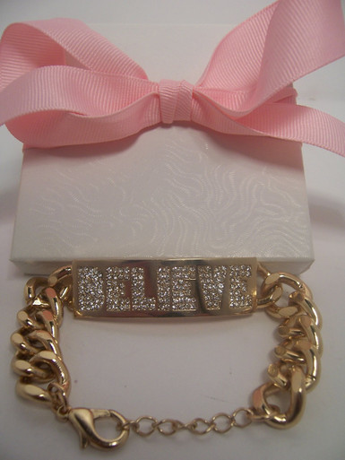 "Hot Gold ""Believe"" Bracelet.  (Has rhinestones in Believe)"