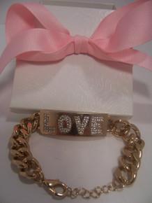 """Gold Tone """"Love"""" Link Bracelet"""