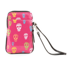 Awesome multicolor skull cellphone case with wristlet.