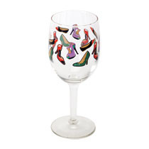 "High heel 2-piece wine glasses.  Sexy 2-piece wine glass set.  Both wine glasses are 10 oz. each.  Images of high heels, pumps, and flats are all over these wine glasses.  Each glass stands 7"" tall.  Each glass is covered in a variety of shoes. Covered in all types of shoes: Sexy stilettos, work day, or just relaxing. This glass has you covered for any mood."