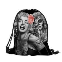 Marilyn Monroe Tattoo Drawstring Backpack/Skeleton Tote