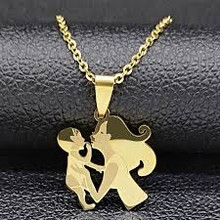 Motherd Daugher Necklace with Baby / Gold Color