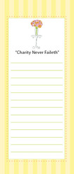Notepad: Charity Never Faileth in the Yellow Stripe Design