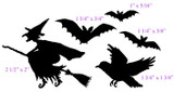 "Witch 2 1/2"" x 2"" Bird 1 3/4"" x 1 3/8"" Smallest bat 1"" x 5/16"""