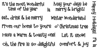 """May your days be merry & bright (1 3/4"""" x 1/2"""")  From our home to yours (2 5/8"""" x 1/4"""")"""