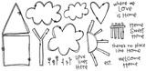 "House (1 5/8"" x 3 3/4"")  Tree Trunk (2 1/4"" x 1"")  Home Sweet Home (7/8' x 7/8"")"