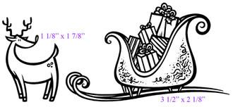 "Reindeer (1 1/8"" x 1 7/8"")  Sleigh (3 1/2"" x 2 1/8"")"