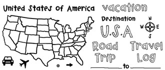 "United States of America (4 3/4"" x 2 1/2"")  Car (5/8"" x 1/2"")  Compass (1"" x 1 1/8"")  Travel Log (1 5/8"" x 1 1/8"")"