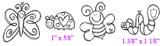 "Ladybug (1"" x 5/8"") Caterpillar (1 3/8"" x  1 1/8"")"