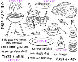 """Full Set (8 1/4"""" x 6 1/4"""")      BBQ Grill (2 3/4""""x 3 3/4"""")     Hot Dog (1 5/8""""x 5/8"""")     Plate (2 3/4"""" x 1"""")     Mustard (7/8"""" x 1 1/3"""")     Thanks a melon! (2 1/4""""x 1/4"""")"""