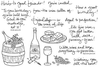 """Full Set (8 1/4"""" x 5 5/8"""")      Wine bottle with corkscrew (7/8"""" x 3 1/4"""")     Cheese plate (2 1/4"""" x 1 1/8"""")     Friendship is the wine of life (2 7/8"""" x 1 1/4"""")"""