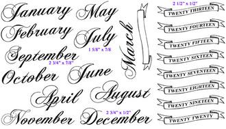 """July (1 5/8"""" x 7/8"""") September (2 3/4"""" x 7/8"""") December (2 3/4"""" x 1/2"""") Twenty Thirteen Banner (2 1/2"""" x 1/2"""")"""