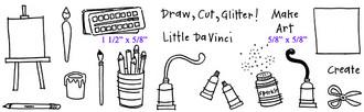 "Full Set (8 1/4"" x 2 3/8"")      Paint Set (1 1/2"" x 5/8"")     Make Art (5/8"" x 5/8"")"