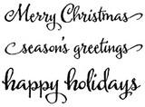 "Merry Christmas (2 3/4"" x 1/2"") happy holidays (2 3/4"" x 3/4"")"