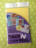 Tack 'n Peel is a reusable clear sheet that enables a rubber stamp to cling to an acrylic block.  1.Place acrylic block on the yellow side of the Tack 'n Peel sheet and trace the outline with a thin permanent marker. 2. Use scissors or craft knife to cut out the traced shape. 3. Peel off the yellow liner from the Tack 'n Peel and place onto the block or handle. 4. Remove the clear liner but do not discard. 5. Place your unmounted stamp onto the exposed side and begin stamping. 6. When finished, remove the stamp  and replace the saved clear liner to protect the surface until ready to use again.   (Caution, unmounted stamp or design object should be removed for proper storage to prevent difficulty in removing later.) 7. When ready for re-use, restore tackiness (if needed) by just wiping the surface with a wet cloth or rinse with water and allow to air dry.