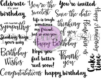 """Celebrate it's your birthday 2 1/4"""" x 1 1/2""""  life is tough sometimes my friend, but so are you 2 1/8"""" x 1 5/8""""  Congratulations 3 5/8"""" x 3/4""""  Thank you 2"""" x 1 1/2""""  Please join us 3"""" x 3/4"""""""
