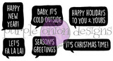 "Happy New Year! 3/4"" x 1""  Baby, It's Cold Outside 1 1/8"" x 3/4""  Happy Holidays To You & Yours  1 3/8"" x 1""  Let's Fa La La 3/4"" x 3/4""  Season's Greetings 7/8"" x 3/4""  It's Christmas Time! 1 5/8"" x 1/2"""