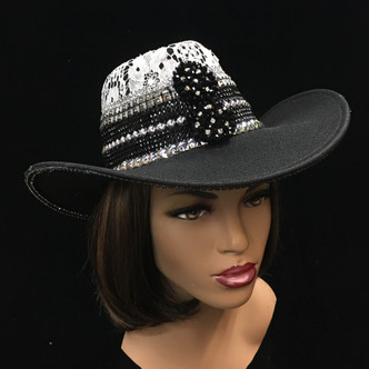 Lace crown outback hat with collage jewel band,