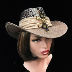Sequin adorned safari hat with microsuede band.