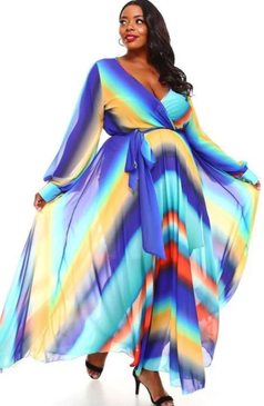This multi-color rainbow chiffon dress is available in sizes 1X, 2X and 3X only.