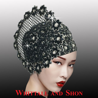 Mosaic inspired crystal and stone motifs adorn this elegant bubble hat which is available in black and silver.