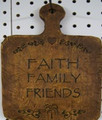 """Faith, Family, Friends"" Resin Breadboard"