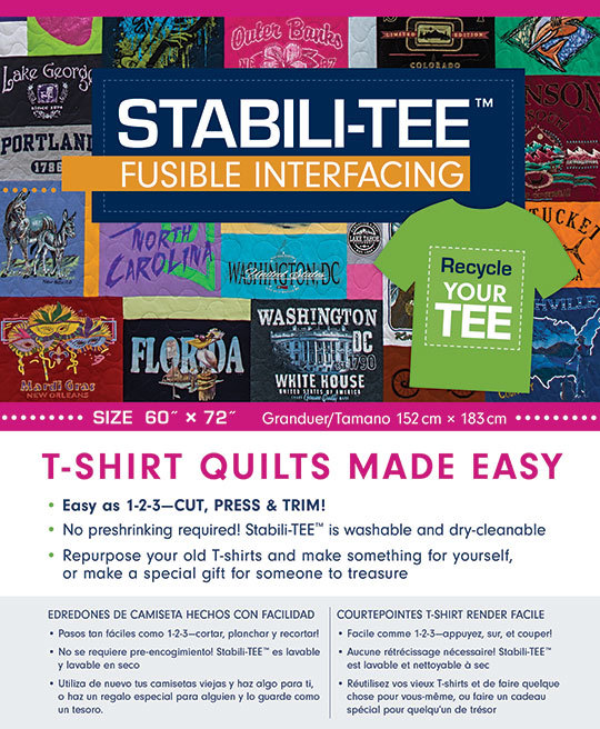 Stabili Tee Fusible Interfacing Pack 60 X 72 Inches T Shirt Quilts