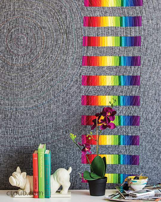 """In the Throne Room"" in MODERN RAINBOW 14 Imaginative Quilts That Play with Color by Rebecca Bryan #modernrainbow #ctpublishing #stashbooks #rebeccabryan #modernquilting #roygbiv #quilting #improv #rainbowismyfavoritecolor"