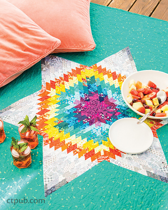 """Icarus Star"" in MODERN RAINBOW by Rebecca Bryan 14 Imaginative Quilts That Play with Color #modernrainbow #ctpublishing #stashbooks #rebeccabryan #icarus #modernquilting #roygbiv #quilting #improv #rainbowismyfavoritecolor"