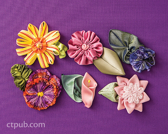 Ribbonwork Flowers: 132 Garden Embellishments Beautiful Designs for Flowers, Leaves & More by Christen Brown #RibbonworkFlowers