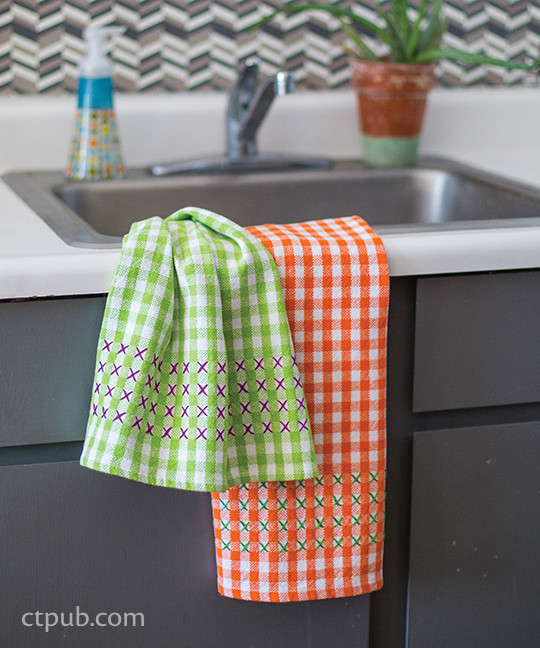 stitched dish towels from The Amazing Stitching Handbook for Kids: 17 Embroidery Stitches • 15 Fun & Easy Projects by Kristin Nicholas #TheAmazingStitchingHandbookforKids