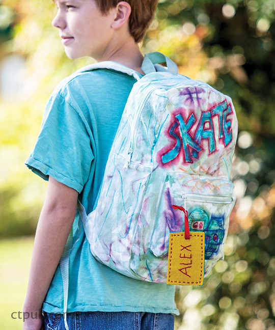 Embellished backpack from The Amazing Stitching Handbook for Kids: 17 Embroidery Stitches • 15 Fun & Easy Projects by Kristin Nicholas #TheAmazingStitchingHandbookforKids