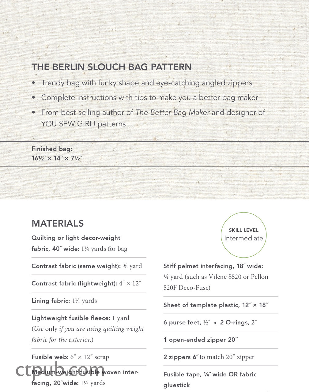 The Berlin Slouch Bag Pattern