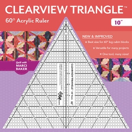 "Clearview Triangle 60 Acrylic Ruler 10"" from Quilt with Marci Baker, designed by Sara Nephew"