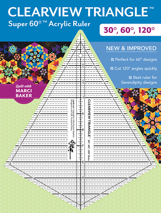 Clearview Triangle Super 60 Acrylic Ruler from Quilt with Marci Baker, designed by Sara Nephew