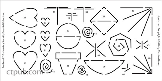 fast2mark Embroidery Stencils, Essential Collection: 90