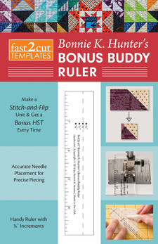 "Easily mark diagonal stitch lines, sew, and cut, and you get a bonus HST unit from your leftover corner cut-offs. No wasted fabric! The Bonus Buddy doubles as a seam-guide marking tool for your machine and is also a handy 1"" x 5"" ruler. Designed by Bonnie K. Hunter, this will be your new favorite piecing tool."