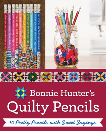 Sharpen your creativity with patchwork pencils for quilters! Featuring photos of quilts from best-selling author Bonnie K. Hunter of the Quiltville online community, this 10-pack pencil gift set is so pretty, you won't want to share. The quotable quilter shares her signature quips on each pencil, with humor that's instantly relatable to fabric lovers. This #2 HB graphite pencil set is a creative gift idea for quilters, yourself, or anyone who can use a smile.