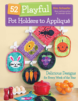 Step up your kitchen game with quilted pot holders! Best-selling author Kim Schaefer of Calendar Quilts and Calendar Runners shares fifty-two darling hot pad designs to appliqué, one for every week of the year. Pick one of three bound shapes—square, round, and oval—and create your own festive kitchen set. With more than four dozen seasonal, holiday, and kitchen-themed motifs, each with full-size appliqué patterns, you'll want to make these useful gifts for everyone you know.