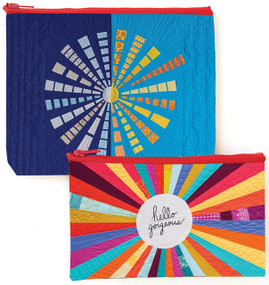 Stow your stuff in these colorful zippered Eco Pouches and stay organized everywhere you go. Pouches are made of recycled plastic that is tough enough to handle even sharp quilting, sewing, and art tools. (They are also great for pens, jewelry, cosmetics, coins, and more!) Set of two pouches—9.5˝ x 7˝ pouch with boxed corners and 8.5˝ x 5˝ pouch—featuring two beautiful quilts by Christina Cameli. Eco pouches are durable and waterproof.