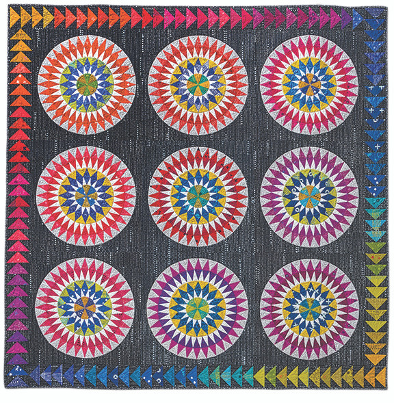 From veteran author, teacher, and designer Becky Goldsmith comes this amazingly striking Bullseye quilt with easy-to-use paper-piecing foundations. Though the result looks complicated, the quilt comes together easily with Becky's simple, friendly instructions. Make the stunning Bullseye all on its own, add a border of Flying Geese, or make nine smaller Bullseye blocks for an eye-catching quilt.