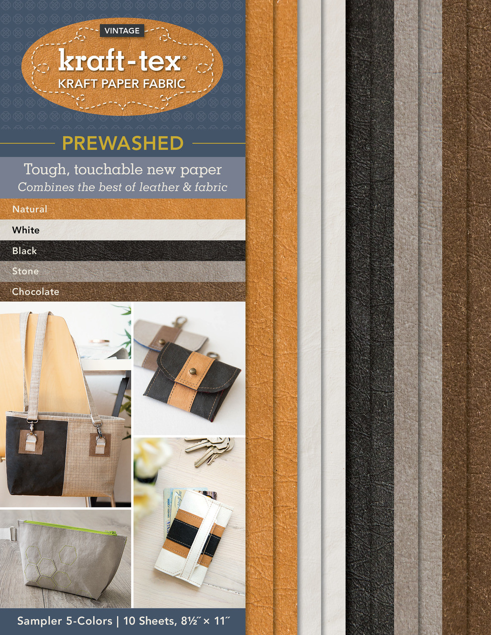 Wait until you get your hands on the rugged paper that looks, feels, and wears like leather, but sews, cuts, and washes just like fabric—now with an even softer and more leather-like finish! kraft-tex® Prewashed is supple, yet strong enough to use for projects that get tough wear. 8 ½˝ × 11˝ sheets are perfect for adding embellishments or making smaller projects. This sumptuous surface is prewashed, pre-shunk, eco-friendly, tear-resistant, and so much more.