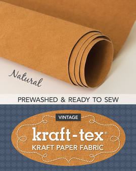 Wait until you get your hands on the rugged paper that looks, feels, and wears like leather, but sews, cuts, and washes just like fabric—now with an even softer and more leather-like finish! kraft-tex® Prewashed is supple and easy to sew with, yet strong enough to use for projects that get tough wear. And with its lovely crinkles, it will bring an exciting new texture to your craft-sewing projects and mixed-media arts.