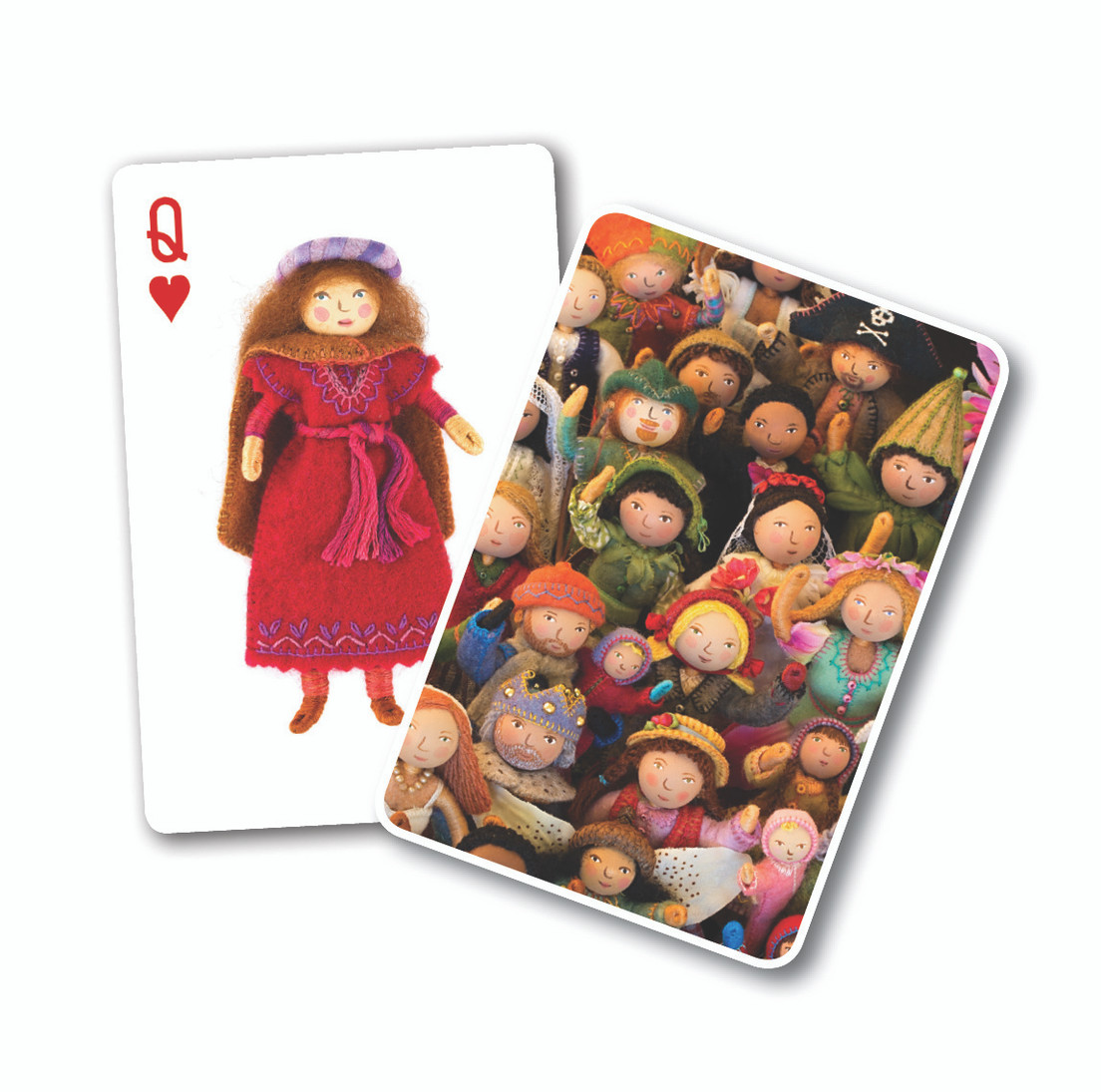 The popular Felt Wee Folk, created by best-selling author Salley Mavor, spring to life in an imaginative deck of playing cards. Each felt doll is shown in exquisite detail, so their outsize personalities shine through. So cute you will want to play with them all, these popular playing cards make a great gift for crafters and children, but will be loved by all!