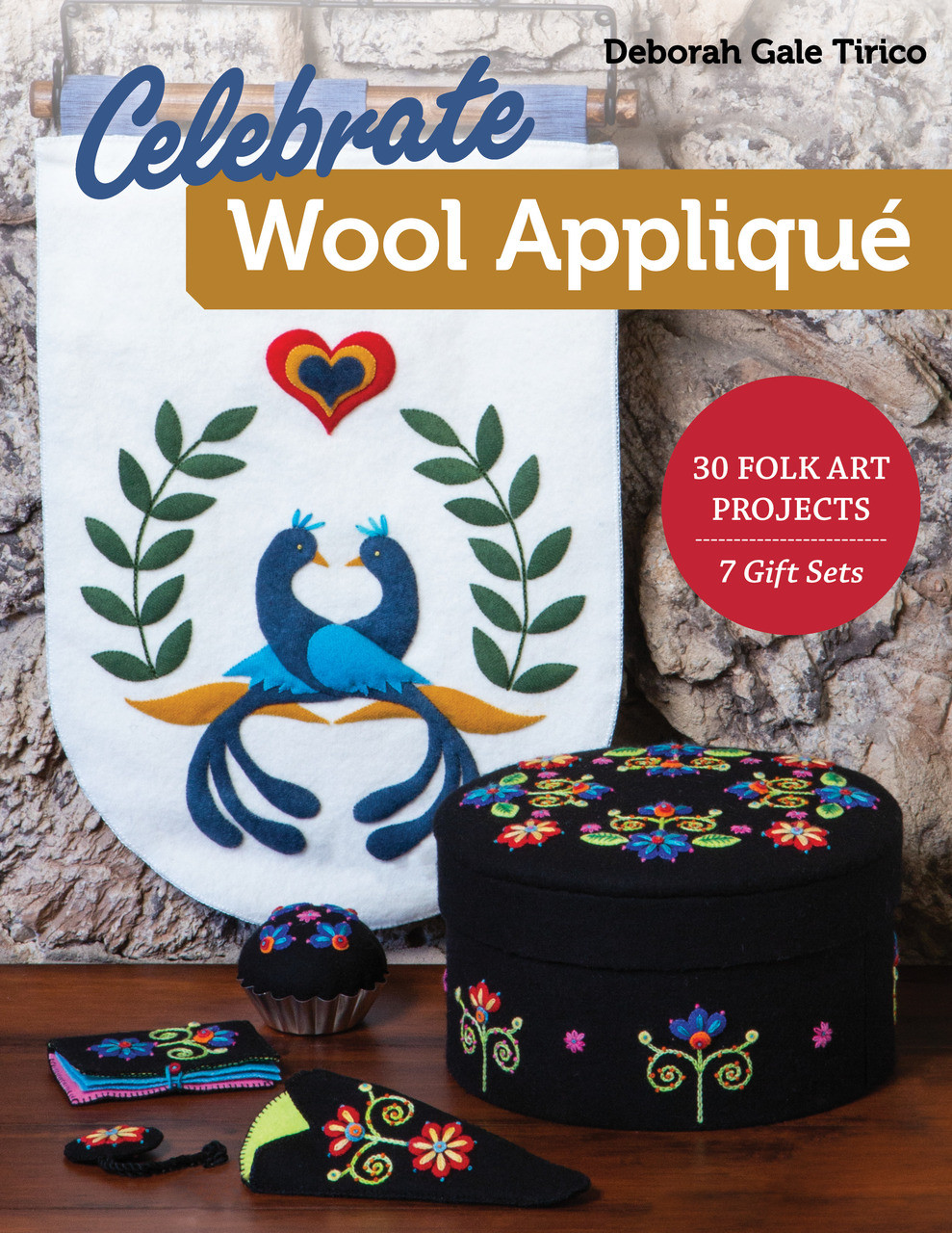 Wool appliqué enthusiasts, bring your skills to the next level with thirty timeless and bold folk-art designs from Deborah Gale Tirico. Covered boxes, book covers, coasters, pillows, and more—make a set of coordinating wool-felt appliqué projects, or choose your favorite gifts and home decor from among the seven design suites. Learn how to get a sculpted look with needle-slanting, trapunto, and layering. Place each wool appliqué element perfectly with full-size patterns, plus placement and embroidery guides. With no turned edges, you'll be able to relax into each leisurely stitch.